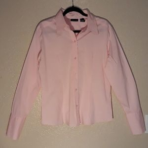 New York & Co Pink long sleeve button up stretc XL